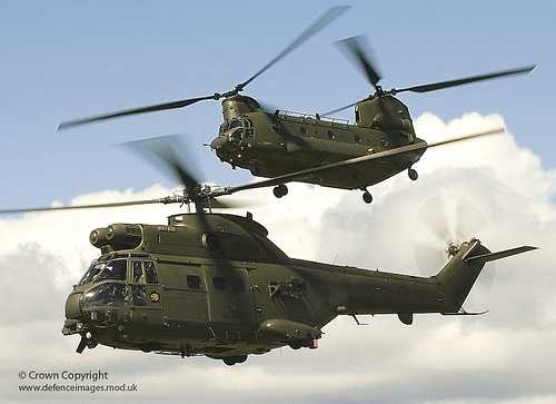 RAF Chinook & Puma in Close Formation