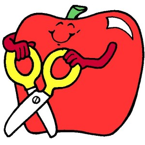 Apple with scissors