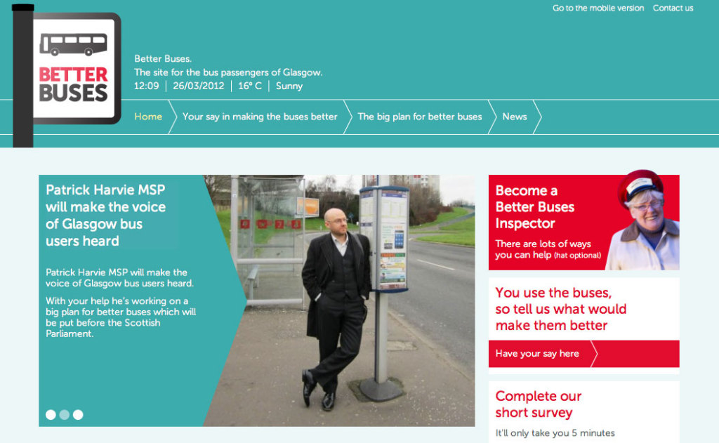 Screengrab of the Better buses website