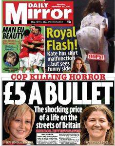 "Front page of the Mirror, with photo captions ""WPC Nicola Hughes"" and ""WPC Fiona Bone"""