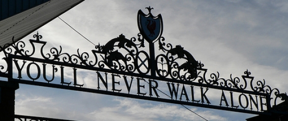 """You'll Never Walk Alone"" - motto above the Shankly Gates at Anfield"