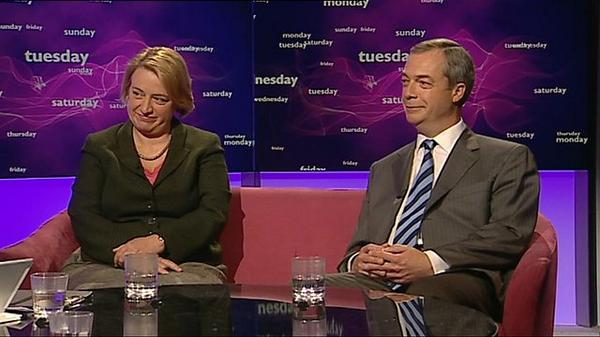 As things stand UKIP's Nigel Farage will participate in a TV debate whilst the Green's Natalie Bennett will not. Image: BBC.