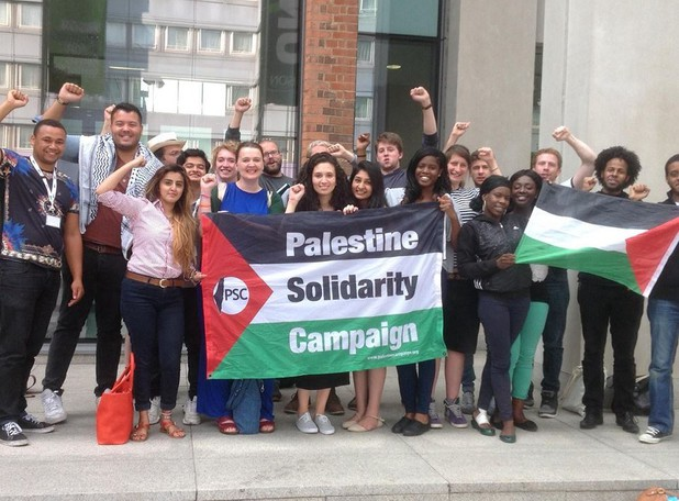Members of the NUS National Executive Council shortly after voting to support the BDS campaign against the Israeli occupation of Palestine. Photo: NUS NEC.