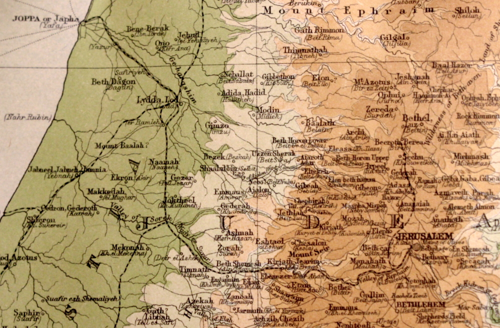 "Jaffa to Jerusalem. Image: section of plate entitled ""Palestine"" from the 1920 Times Atlas of the World."