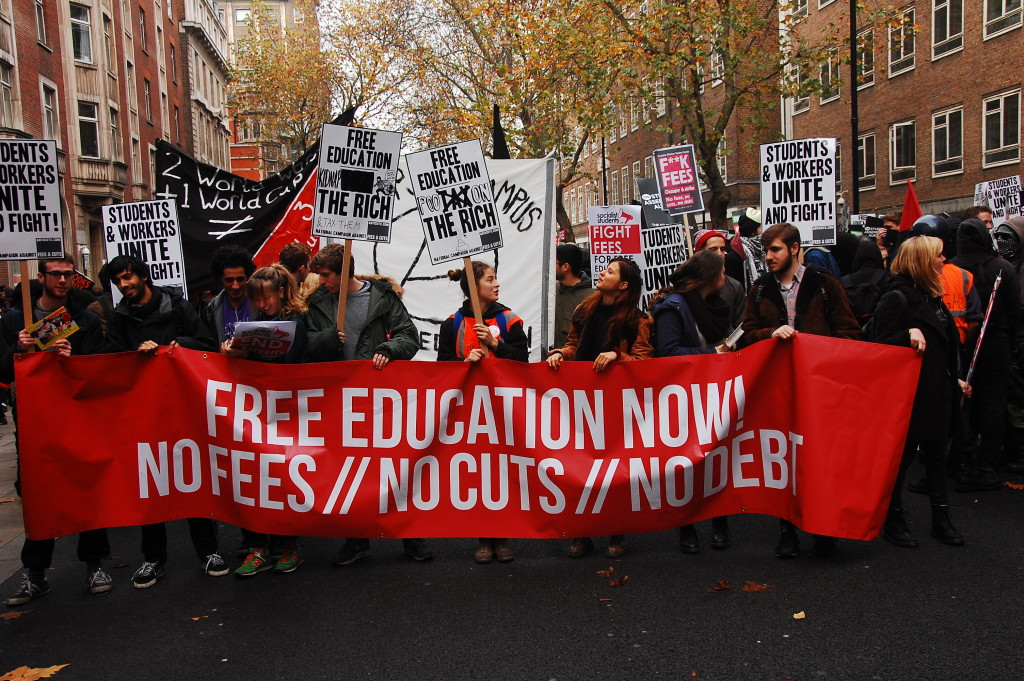 Students protest for free education in London, 19 November 2014.