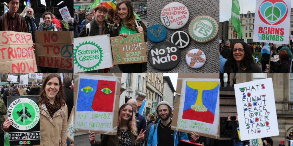 Anti-trident protesters in Glasgow today. Image: Ric Lander.