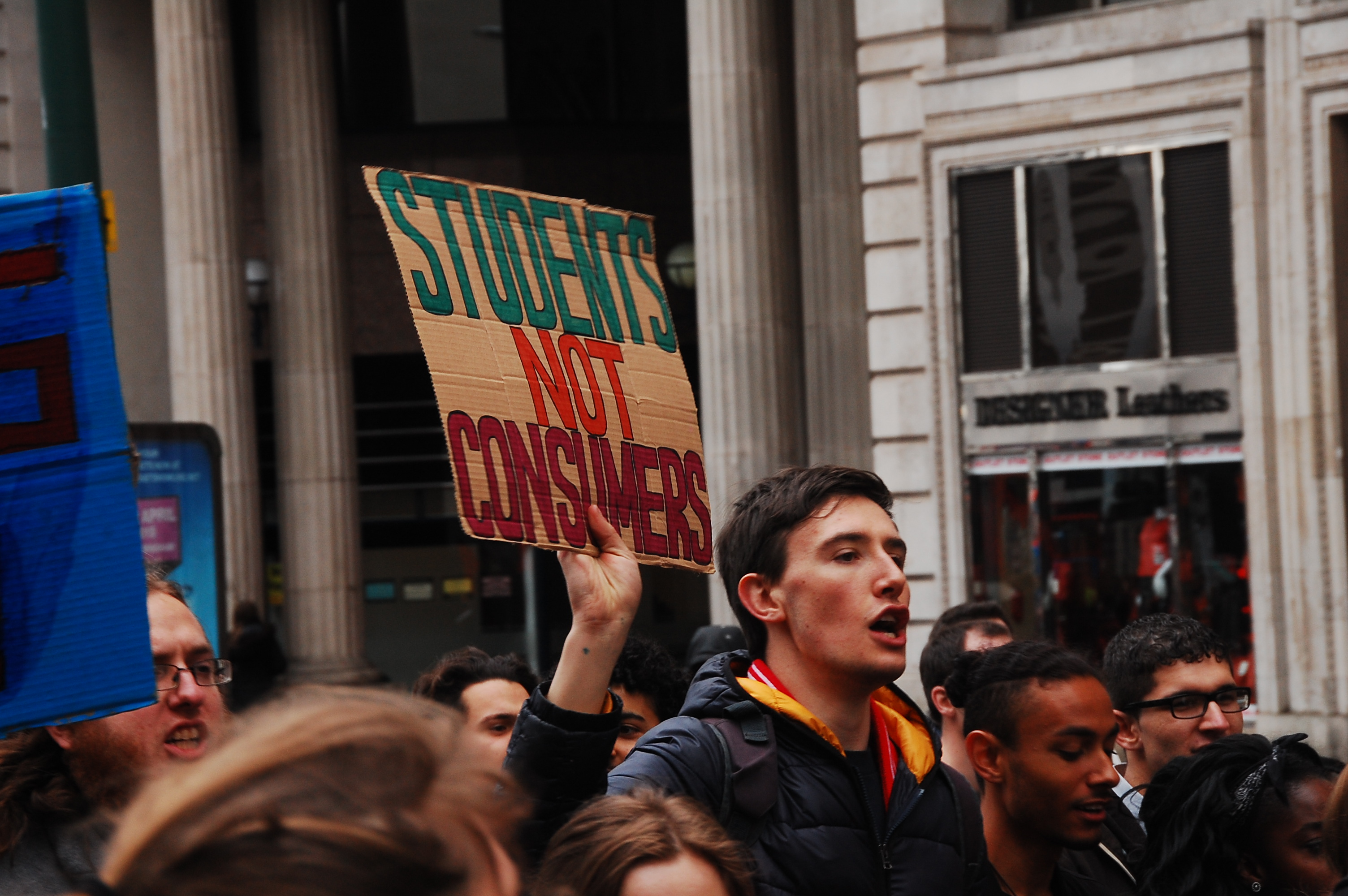 'Students not consumers!' Students at a Free Education Demonstration in Birmingham in March. Photo: William Pinkney-Baird