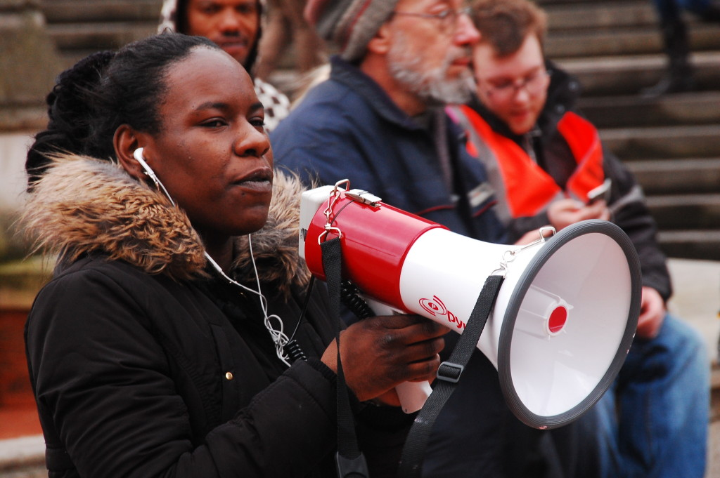 'We're screaming that we want free education, we're screaming when we want it, but we need to start thinking about why we want free education and how we're going to get it.' Shakira Martin addresses last month's demonstration for free education. Photo: William Pinkney-Baird.