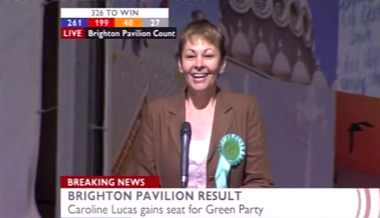 Caroline Lucas elected as the first Green MP in the UK Parliament, 2010. Image: BBC News.