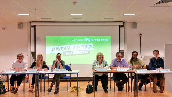 The prospective Green Party candidates for London Mayor at the hustings, chaired by Jean Lambert MEP. Photo: London Green Party.