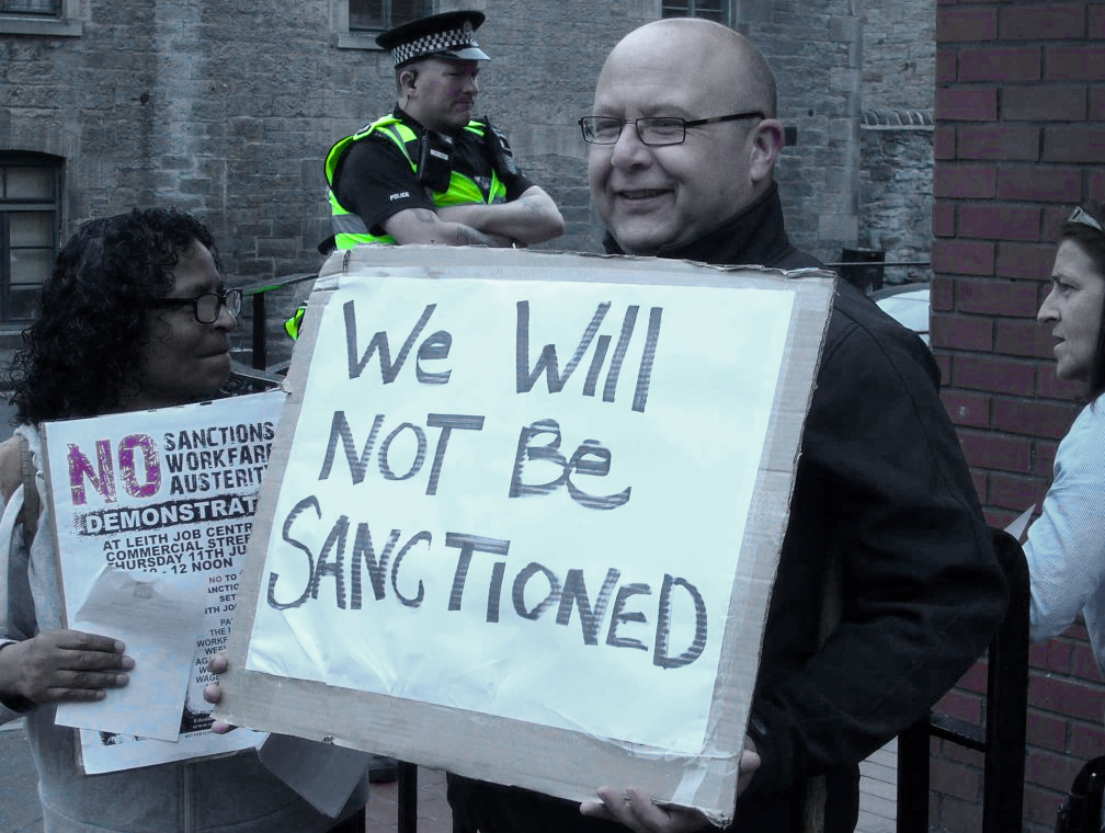 Protest at Leith Job Centre, Edinburgh, 11 July 2013. Image: Edinburgh Coalition Against Poverty