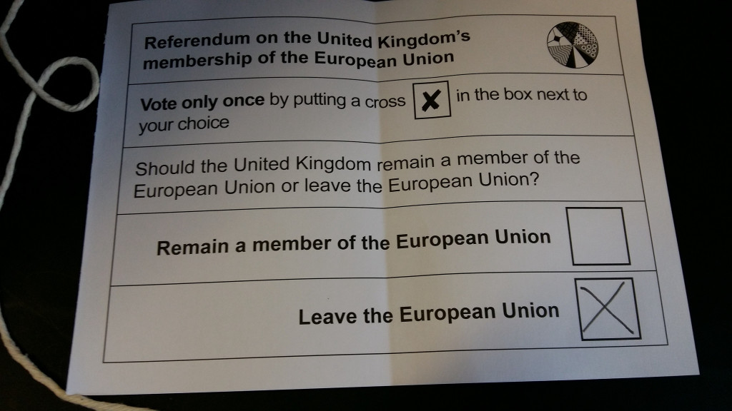 "An photograph of an EU referendum ballot slip with ""Leave the European Union"" crossed"