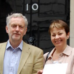Jeremy Corbyn and Caroline Lucas in front of Downing Street
