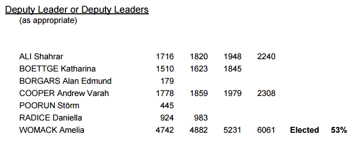 Deputy Leadership Election result