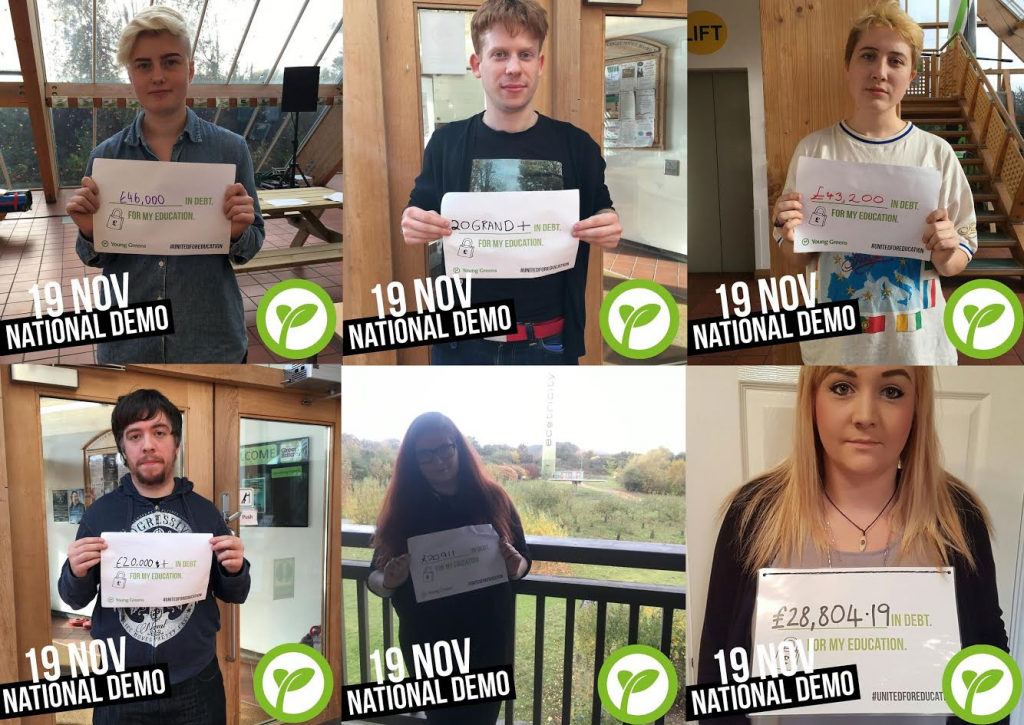 A collage of Young Greens holding up signs explaining how much debt they are in due to their education.
