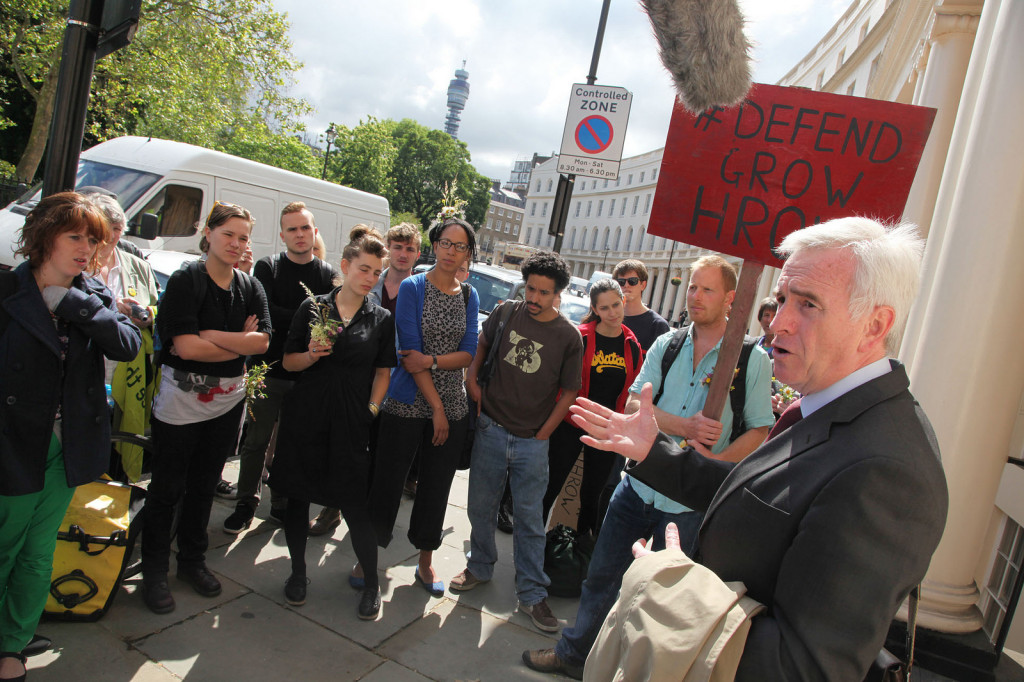 Shadow Chancellor John McDonnell is the architect of Labour's public investment plans. He has campaigned for many years against the expansion of Heathrow Airport. Photo: Anti-Heathrow campaigners at Central London County Court, 2012 by Transition Heathrow.