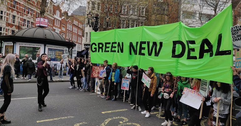 Green New Deal banner at the #YouthStrike4Climate
