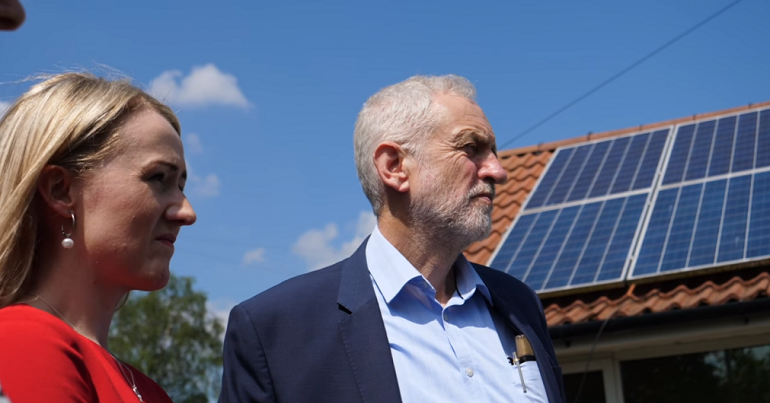Jeremy Corbyn and Rebecca Long-Bailey announcing National Grid nationalisation plans
