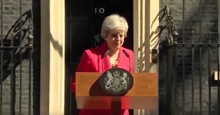 Theresay May crying at resignation speech