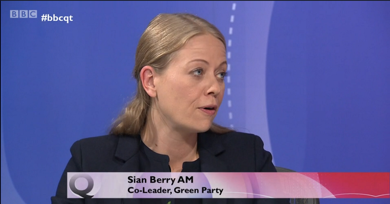 Green Party co-leader Sian Berry on Question Time