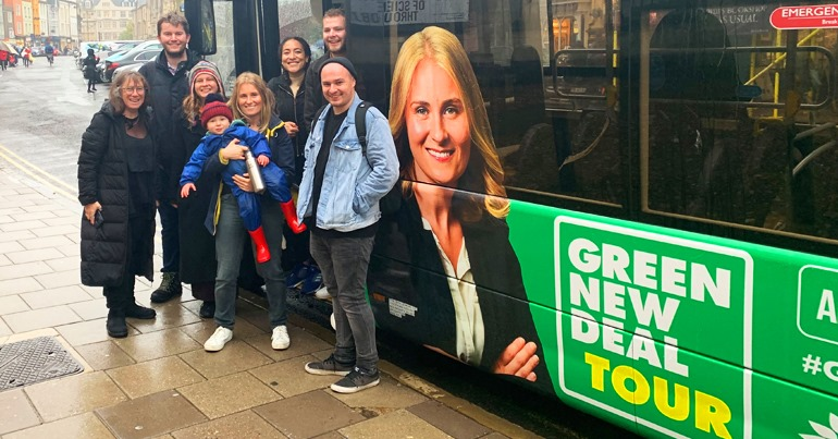 Green New Deal tour bus with Green Party MEP Alex Phillips