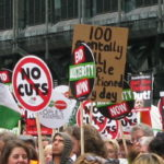 Placards from a protest against austerity in the UK