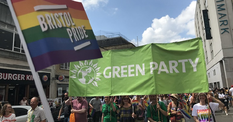 Green Party banner at a protest