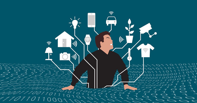 Cartoon drawing of a man struggling in a sea of data